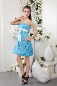 Strapless Short Tulle Sequins Pageant Dresses for Miss World in Blue form Columbia