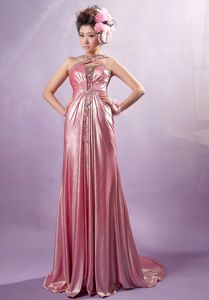 Light Pink Cross Silk Like Satin Beaded Pageant Dresses with Court Train in Reno