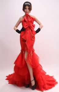 Mermaid for 2013 Interview Pageant Suits with Bowknot and Appliques form Baltimore