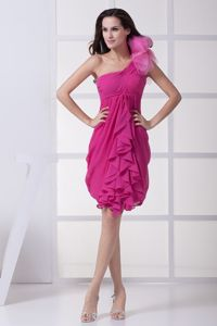 Flowery One Shoulder Decorate Fuchsia Pageant Dresses with Ruffles form Reno