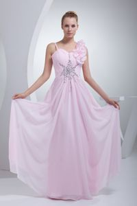 Flowers and Beaded Accent Ruched Pageant Girl Dresses in Baby Pink in Acton