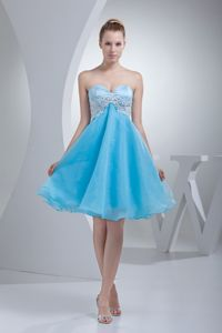 Sweetheart Appliqued Pageant Girl Dresses in Aqua Blue Organza form Columbia
