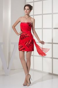 Strapless Red and Black Pageant Girl Dresses with Beading and Ruches in Salem