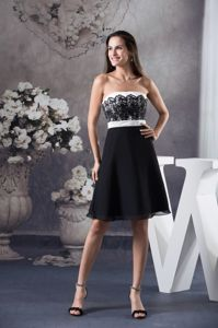 Black and White Miss Mississippi Pageant Dress with Lace Decoration form Troy
