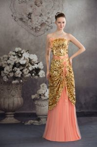 Paillette and Flowers Gold Miss Mississippi Pageant Dress in Peach form Salem