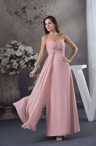 Baby Pink Sweetheart Ankle-length Interview Pageant Suits with Beading in Reno