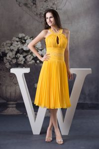Yellow Knee-length Interview Pageant Suits with Beading and Keyhole in Easton