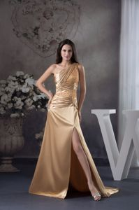 High Slit One Shoulder Interview Pageant Suits with Beading and Ruching in Taos