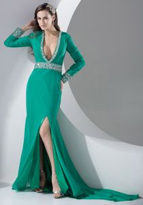 Turquoise Plunged V-neck Beaded Interview Pageant Suits with Slit form Bethesda