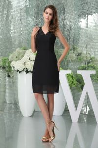 Knee-length Black V-neck Natural Beauty Pageants Dress in Chiffon form Acton