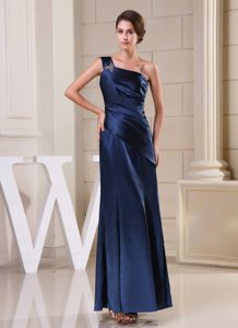 Navy Blue One Shoulder Column Interview Pageant Suits in Beading form Baltimore