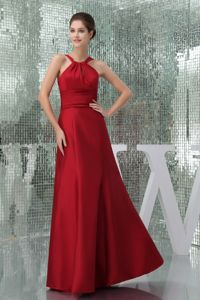 Ruched High-Neck Floor-length Interview Pageant Suits in Wine Red form Acton