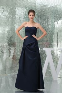 Sweetheart Strapless Floor-length Interview Pageant Suits in Navy Blue form Reno