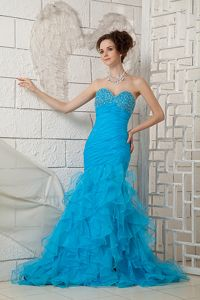Beaded Brush Train Sky Blue Sweetheart Interview Pageant Suits in Organza in Acton