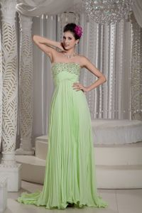 Strapless Yellow Green Empire Beading Brush Train Pageant Dresses in Chiffon in Reno