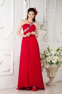 Chiffon Appliqued Brush Train Red Empire Pageant Girl Dresses in One Shoulder in Taos