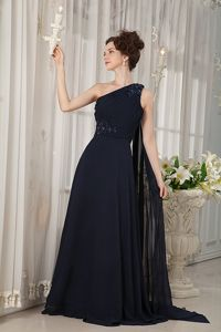 Empire One Shoulder Watteau Train Chiffon Pageant Girl Dresses in Beading in Acton