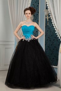 Blue and Black Sweetheart Beaded Pageant Girl Dresses in Organza and Tulle in Reno