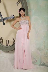 Chiffon Beaded Floor-length Empire Strapless Pageant Girl Dresses in Baby Pink in Taos