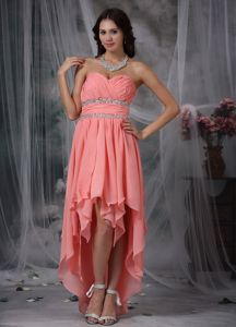 Watermelon Red Sweetheart High-low Dresses for Pageants In Nj in Chiffon form Troy
