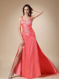 Floor-length Empire Strapless Chiffon Miss Universe Pageant Dress with Appliques in Taos