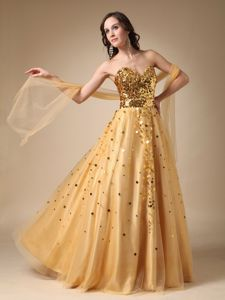 Gold A-line Sweetheart Miss Universe Pageant Dress in Sequins and Tulle form Salem