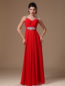 Floor-length Red Beading Decorated Straps Ruched Pageant Dresses For Girls in 2013