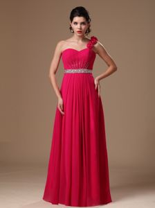 Rose Red One Shoulder Floor-length Natural Beauty Pageants Dress with Beaded Belt