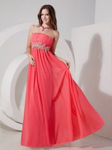 Watermelon Red Empire Strapless Floor-length Interview Pageant Suits Vaughan Ontario