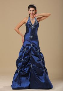 Navy Blue and Appliques Decorated Halter Girl Pageant Dress with Pick-ups in 2013