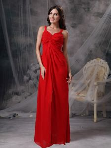 Red Empire Straps Floor-length Ruched Bust Pageant Dresses For Girls in Laval Quebec