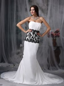 Mermaid Strapless Chapel Train White Pageant Dress Patterns with Black Appliques