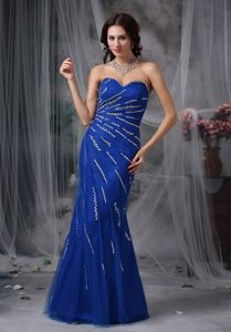 Royal Blue Mermaid Sweetheart Floor-length Beaded Miss Mississippi Pageant Dress