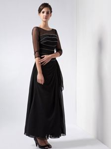 2013 Column Scoop Ankle-length Black Natural Beauty Pageants Dress with Beading