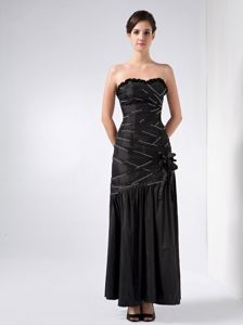 Black Column Strapless Beaded Dresses For Pageants In Nj with Handmade Flowers