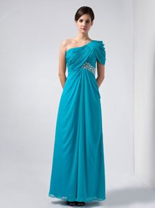 Ankle-length Baby Blue Column One Shoulder Pageant Dresses For Girls with Ruches