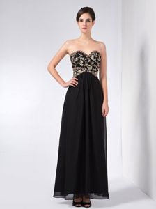 Appliqued Sweetheart Ankle-length Black Column Interview Pageant Suits in Mississauga
