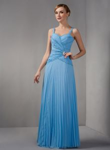 2013 Straps Floor-length Column Glitz Pageant Dresses with Beaded Straps and Pleats