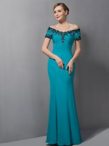 Teal Mermaid Off The Shoulder Floor-length Pageant Dresses For Miss USA in Leeds