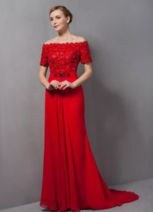 Off The Shoulder Red Column Interview Pageant Suits with Appliques and Brush Train