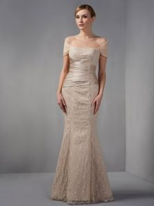 Floor-length Champagne Mermaid Off the Shoulder Natural Beauty Pageants Dresses