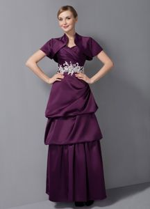 Dark Purple Sweetheart Ankle-length Appliques Youth Pageant Dresses with Pick-ups