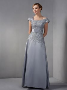Beaded Asymmetrical Ankle-length Grey Miss Universe Pageant Dress with Appliques