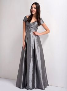 Grey A-line V-neck Ruched Floor-length Miss Mississippi Pageant Dress in Sheffield