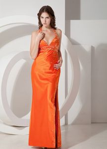 Beaded Orange Sheath Halter High Slit Pageant Dress For Miss America with Ruches