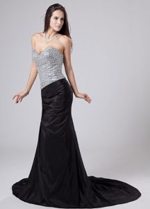 Court Train Black Sweetheart Strapless Pageant Dresses For Girls with Sequined Bodice