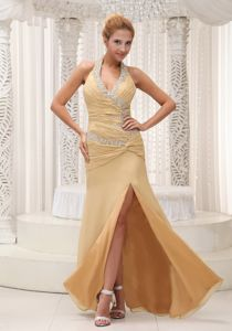 Beading Decorated Halter and Ruched Bodice Yellow Glitz Pageant Dresses with High Slit
