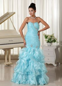 Mermaid Baby Blue Ruched Bodice and Ruffled Pageant Dress Patterns in Calgary Alberta