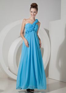 Aqua Blue Empire One Shoulder Pageant Dress Patterns with Floor-length in London