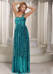 One Shoulder Floor-length Teal Pailletted Glitz Pageant Dresses Surrey British Columbia